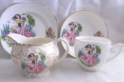 🌟 Dainty Miss Midwinter Gold Chintz Jug + Duchess Trio Teacup Saucer Side Plate