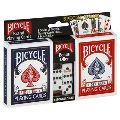 2 Decks Bicycle Rider Back 808 Dice Set Standard Poker Playing Cards Red & Blue