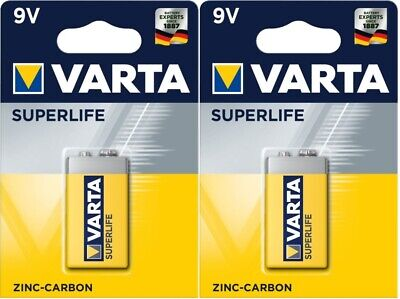 2 x Varta 9V SUPERLIFE Zinc Carbon E-Block 6F22 Battery. Varta Quality