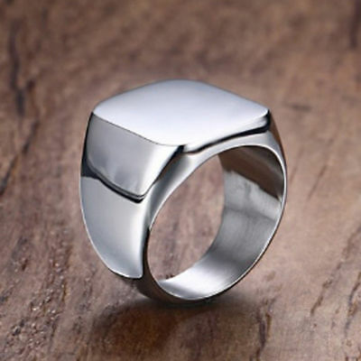 Men's Ring Solid Sterling Silver Platinum Plated Gents Signet Ring Sizes L to Z