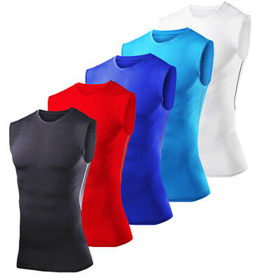 Mens Compression Shirt Sleeveless Under Base Layer Tights Gym Clothes Tops Vest