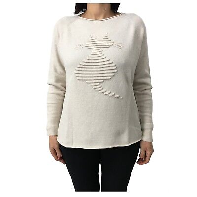LA FEE MARABOUTEE Damenpullover Creme mod FB1156 made in italy