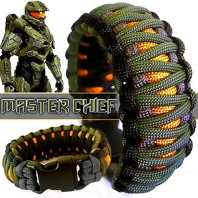 Halo Master Chief Gamers Paracord Bracelet Wristband Survival EDC