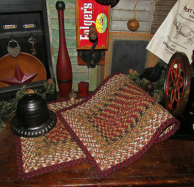 "Primitive Antique Vtg Style Farmhouse BRAIDED 36"" TABLE RUNNER Rectangle #19"