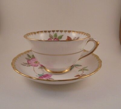 Tuscan Cup & Saucer Pink Flowers, Scalloped Gold Trim & Dots Pattern #C8440