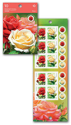 Canada 2014 Roses Booklet 10 Mint Permanent Stamps Flowers Flora Nature