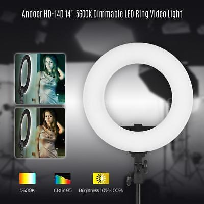 Andoer HD-14D 14 Inch Studio Ring Light 36W 5600K Dimmable LED Video Light T8S0
