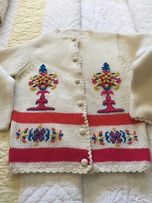 VINTAGE Ivory Red Blue Gold Embroidered Floral LS  Hand Knit Cardigan Sweater M