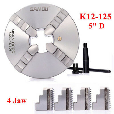 K12-125 4 Jaw Lathe Chuck Self-Centering Hardened Reversible Mounting Tool 125mm