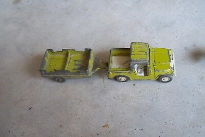 """Vintage Tootsie Toy Jeep Green 1969 Diecast Die Cast 3 1/2"""" Chipped Paint"""