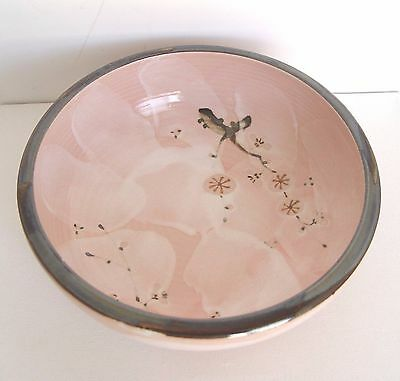 Pottery Asian Pink BOWL Signed Marking Japanese Chinese Frog & Fish Designs