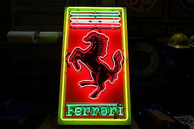 "Ferrari Neon Dealership sign. Vintage Steel Enamel neon ART . HUGE 47"" by 26"""