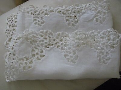 Antique White Work Crochet Lace French Doll Craft Pillow Linen Runner 46x14