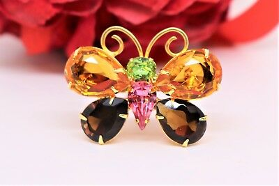 Joan Rivers Vintage Multi Crystal Butterfly Brooch Yellow, Green, Brown, Pink