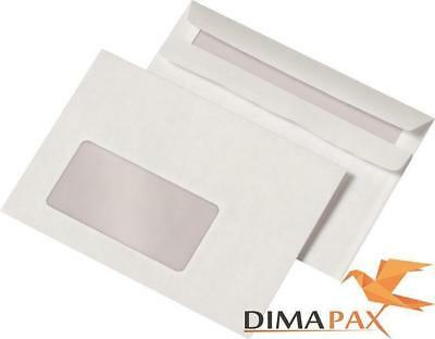 1000 Envelopes Din C6 with Window 114 x 162 mm Sk Self Adhesive White