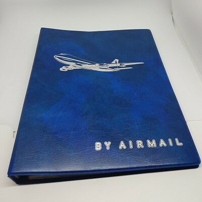 """Vintage """"By Airmail"""" FDC/Postcard/Notes Album Empty with Inserts"""