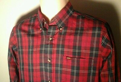 LEE Vintage 80s RED BLUE PLAID Cowboy Western MENS BUTTON DOWN SHIRT Size M
