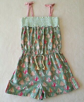 Matilda Jane Size 10 Campfire Stories Romper Green Tents Smocked Happy and Free