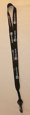 Bacardi Rum Lanyard - Black with Silver Writing - Simple Lanyard w/ Plastic Clip