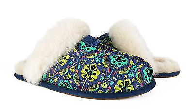 0e7fb7d384c UGG SCUFFETTE LIBERTY Navy Floral Fur Slippers Womens Size 7 *NIB*