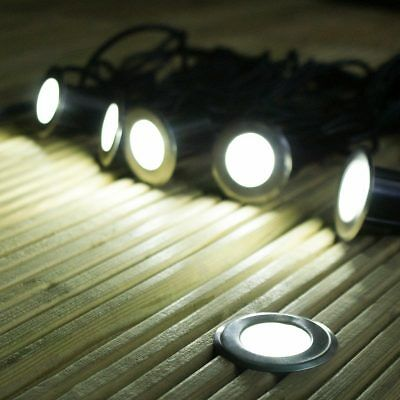 Festive Lights 6 x Solar Power Outdoor Stainless Steel LED Decking Spot Lights