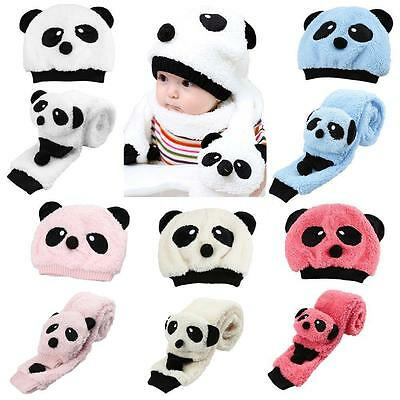 Newborn Baby Girl Boy Hats Winter Panda Toddler Caps Beanie + Scarf Sets Kids #K