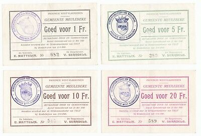 1940 set of 4 Belgium Local Issue Meulebeke 1, 5, 10 and 20 Franc Banknotes.