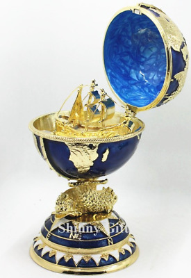 Decorative Faberge Egg / Trinket Jewel Box The Globe with Ship