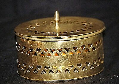 Old Vintage Perforated Heart Designs Brass Storage Box Oval Shaped Vanity Decor