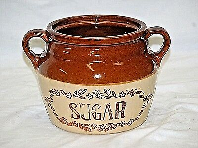 Old Vintage Stoneware Crock Sugar Canister Monmouth Pottery Maple Leaf USA