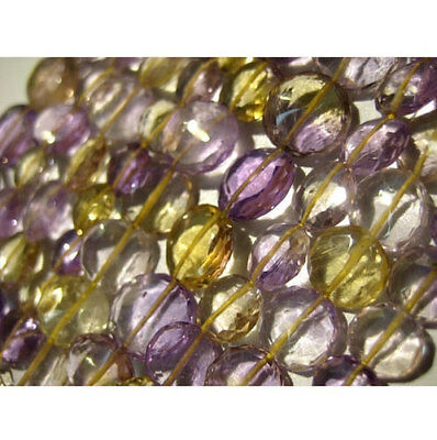 """8"""" Strand Faceted Ametrine Beads, Ametrine Coin Shape Briolettes, 26 Pieces"""