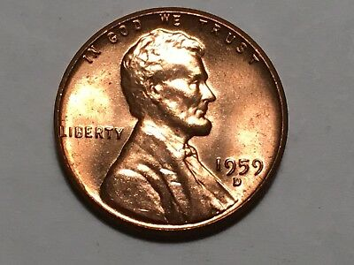 1959 D Bu Lincoln Memorial Cent Penny   Brilliant Uncirculated Condition 1959D