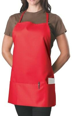 Bib Apron - 3 Pocket Red Ajustble,NEW!