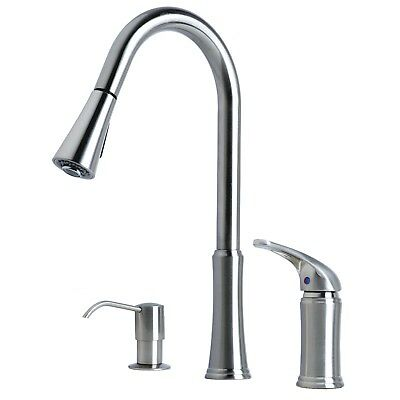 Contemporary Pull-Down Kitchen Faucet with Soap Dispenser Stainless Steel Finish