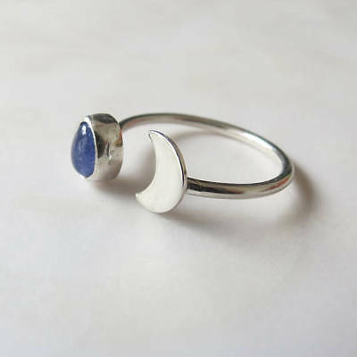 925 Solid Silver Tanzanite Gemstone Adjustable Jewelry Wedding Cresent Moon Ring
