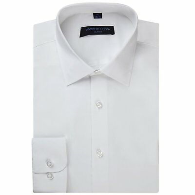Andrew Fezza Men's Slim Fit Long Sleeve Solid Cotton Dress Shirt - Colors