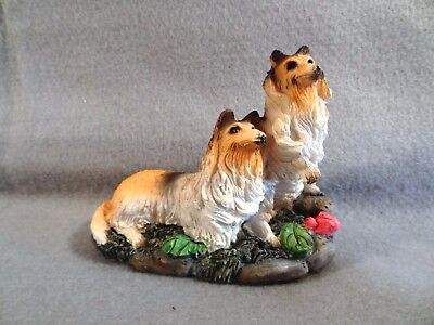 Two COLLIE Dogs PAW UP TO SHAKE HANDS Decorative FIGURINE