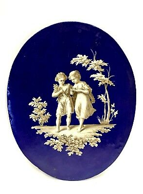 Beautiful Antique French Hand Painted Scenic Cobalt Blue Porcelain Large Plaque