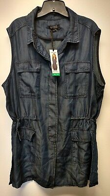 New Buffalo David Bitton Ladies Sleeveless Lightweight Adjustable Waist Vest -XL