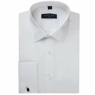 Andrew Fezza Men's Flex Collar Slim Fit French Cuff Solid Dress Shirt - Colors
