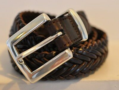 """Men's or Women's Brown Braided Leather Belt size 28"""" or Less"""