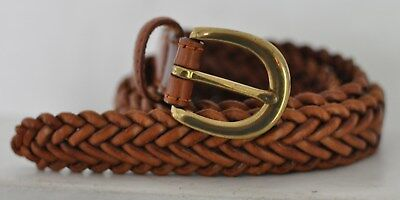 Brown Woven Braided Leather Belt Size 36 or less, adjustable