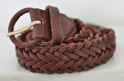 """Greatland Brown Woven Braided Leather Belt Size 40"""" or less"""