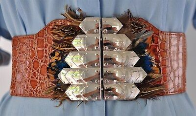 """Native American Costume Cosplay Fashion Feathers Wide Stretch Belt 34-38"""""""