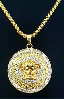 Iced Out Men's Gold Versace Style Medusa Head Crystal C/Z Pendant Necklace