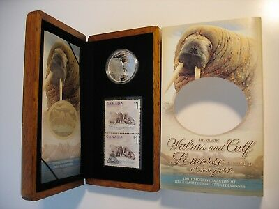 RCM -2005 - $5 - Atlantic Walrus - 99.99% Pure Silver - Proof - Coin & Stamp Set