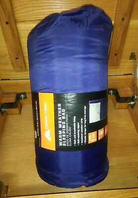 Ozark Trail 50F Warm Weather Rectangular Adult Sleeping Bag 33x75in Camping Camp