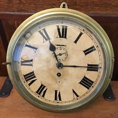 Rare Unusual Antique Oversized Large Brass Bulkhead Ships Boat Clock With Key