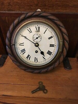 Antique Vintage Ships Boat Bulkhead Clock In Wooden Rope Bound Case Working Key