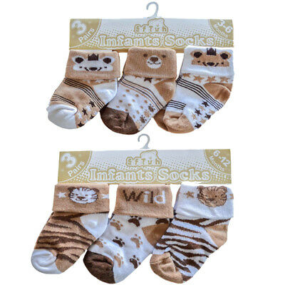 3 Pairs Boys Socks Tigers/bears0-3,3-6,6-12 Mths Brown/beige/cream Soft Touch